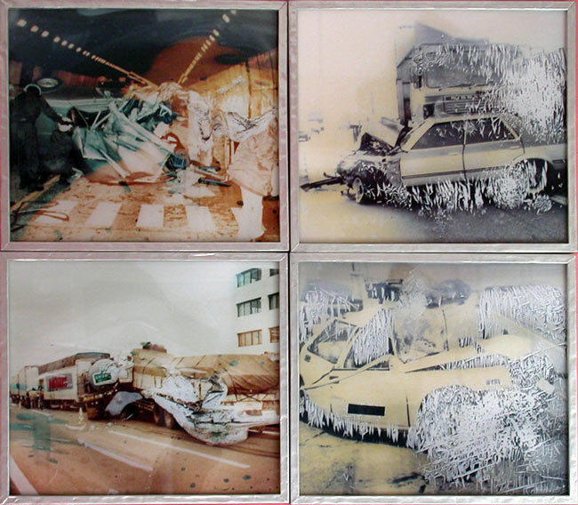 Warnings Between Osaka & Kyoto (Car Crash Grid), 1989/1993, 4 framed laminated  photographs, edition 1/5, 77 x  90 cm